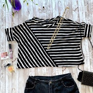 Eye Candy striped shirt sleeve crop top